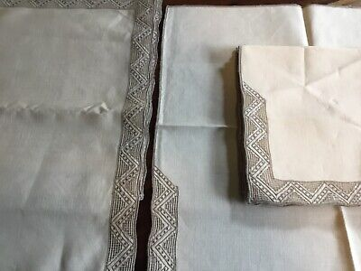 antique beige linen Placemats and Serviettes(6+6)