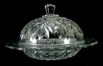 Anchor Hocking Prescut Clear Round Covered Butter EAPC Pineapple Pattern