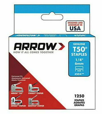 "PACK OF 1250 x GENUINE ARROW T50 6mm (1/4"") HEAVY DUTY STAPLES - UPHOLSTERY"
