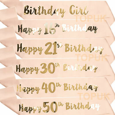 Rose Gold Happy Birthday Sashes Birthday Girl Sash 18/21st/30/40/50/60th Party