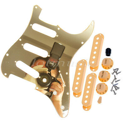 Guitar Pickguard SSS with Pickup Covers Knobs Covers Knob for Strat Gold Mirror