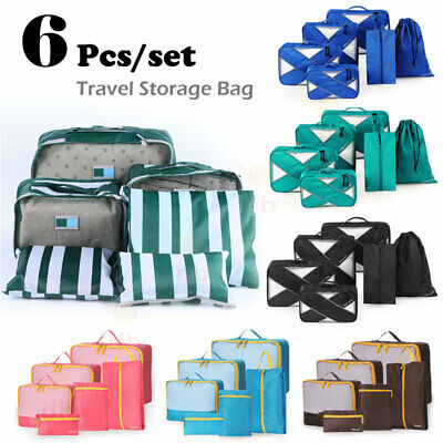 6Pcs Travel Packing Cubes Organiser Bags Pouch Suitcase Luggage Storage Case AU