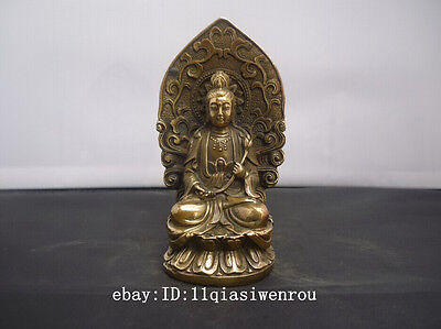 Chinese old copper brass handwork carved guanyin Buddha statue