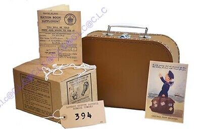 Suitcase-Ration Book-Postcard-Gas Mask Box-New.Label SCHOOL HISTORY PROJECT SET