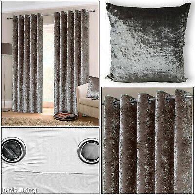 Silver Grey Crushed Velvet Lined Ready Made Eyelet Top Ring Top Curtains Pair