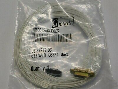 "Glenair M83513/03-D02C 25P Micro D Connector Wired 36"" White Pigtails"