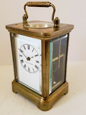 Antique 1907 WATERBURY Clock Co. Victorian Brass & Glass Repeater Carriage Clock