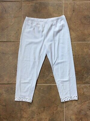 Girls Miss Attitude White Capri Leggings, Large 14