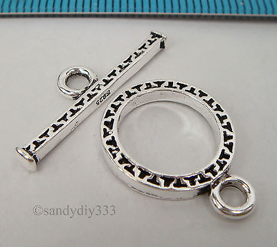 1x BALI OXIDIZED STERLING SILVER ROUND TOGGLE CLASP 14.6mm #2092