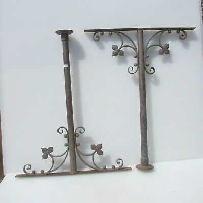 "Victorian Brass Table Feet Legs Stand Antique Balcony Rail Leaf Church Old 26""H"