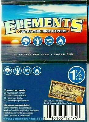 2 Pks Elements Rolling Paper 1 1/2 Natural Ultra Thin Rice Papers USA Shipper