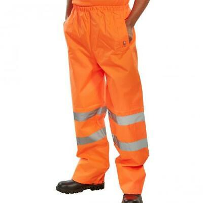 BSeen Small High Visibility Orange Waterproof PVC Polyester Work TrousersHi Viz