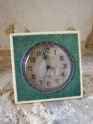 Antique Shagreen 8 Day Clock Square with stand