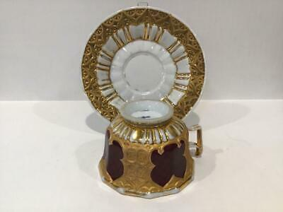 Antique 19th Century Meissen Cup and Saucer, Dark Red and Heavy Gold, Germany