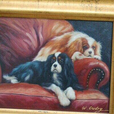 2 Cavalier King Charles Spaniels, a Blenheim and a Tri Color - Artist Signed