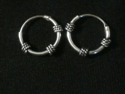 925 Solid Sterling Silver 15MM Round Bali Hoops/ High quality and polished