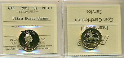 2001 Canada 24 K Gold Sterling Silver 3 Cent Coin Uhc Iccs Pf-67