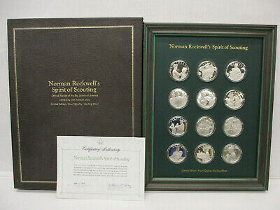 Sterling Silver Proof Medal Set of 12 Norman Rockwell's Spirit of Scouting