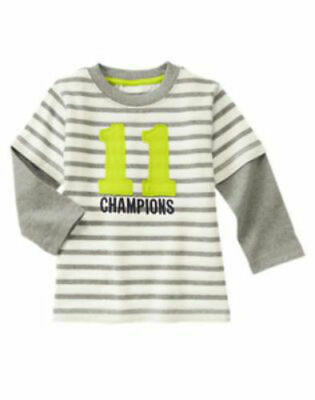 NWT Gymboree Boy STAR BRIGHTS Gray and White Striped Tee Shirt  6-12 Months