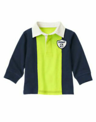 NWT Gymboree Boy STAR BRIGHTS Lime Green and Navy Blue Rugby Shirt  6-12 Months
