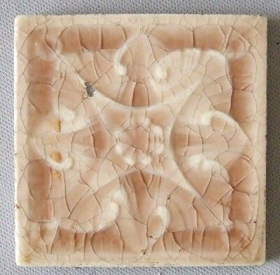Vintage Tile Pink Geometric Flower Providential Trenton Antique NJ Ceramic