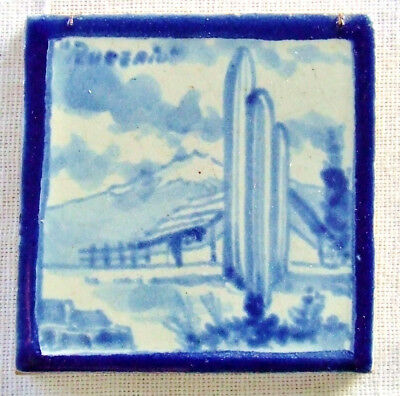 Vtg Rugerio Mexican Art Tile Landscape Blue and White South Western Cowboy Ranch