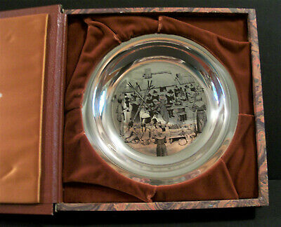 1st Annual Sterling Thanksgiving Plate Franklin Mint 1972