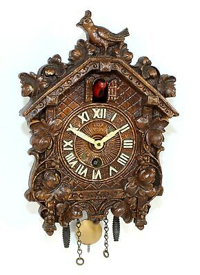 VINTAGE LUX NOVELTY CUCKOO CLOCK with RED BOBBING BIRD - TB65