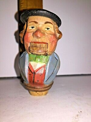 Antique Austrian Wood Carved Man Bottle Stopper Moveable