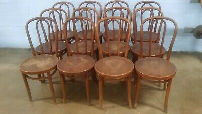 Set of 12 Antique Bentwood Dining Cafe Chairs/ Some With Original Factory Labels
