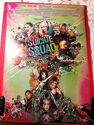 Suicide Squad 2 Sided Movie Theater Release Original Poster Dc Joker Rare !!!