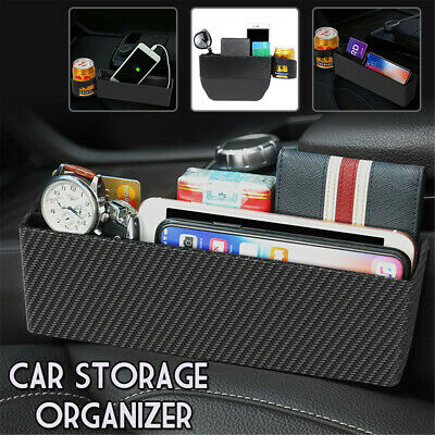 Car Seat Storage Box&Console Side Pocket With Coin Phone Organizer Cup Holder