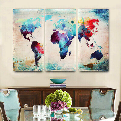 3Pcs World Map Modern Wall Oil Canvas Painting Print Home Decor Unframed