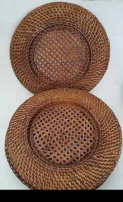 12.5 Inch Round Place Plates in Dark Natural Caspari Rattan Charger Plates