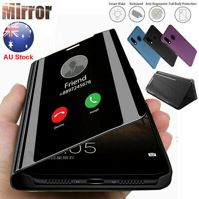 Samsung Galaxy A20 A10E A70 A30 Smart Clear Mirror Leather Flip Stand Case Cover
