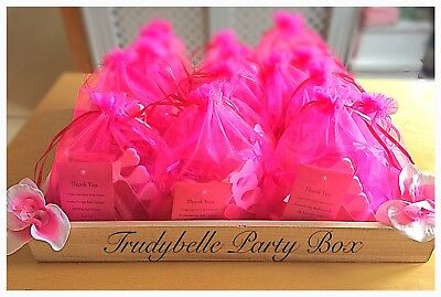 Hot Pink Girls Pamper Spa Party Gift Loot Bags, prefilled with 7 treat items