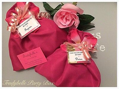 PreFilled Girls Pink Pamper Party Bags, Fabric Handmade ,Sleepover,Personalised