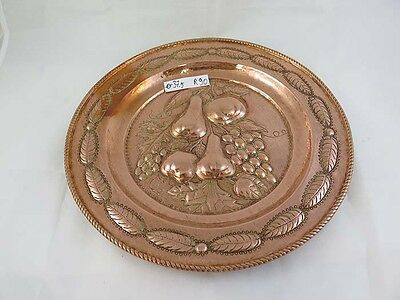 Large Plate Copper Antique Handcrafted a Embossed with Grape Fruit Centerpieces