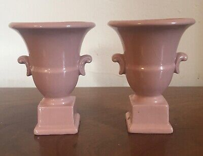 Pair Small Pink Art Deco Pottery Urn Vases Urns on Square Plinths American 1930