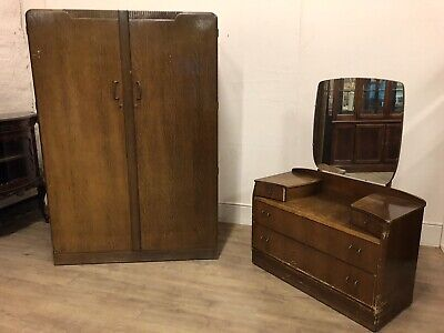 Vintage Lebus  Wardrobe With Dressing Table