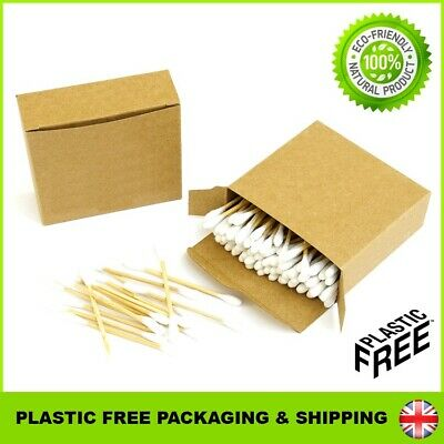 Natural Bamboo Cotton Buds 100% Eco Friendly Biodegradable Wooden Earbuds Swabs
