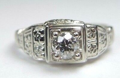 Antique Art Deco Diamond Engagement 18K White Gold Ring Size 4.5 UK-I EGL USA