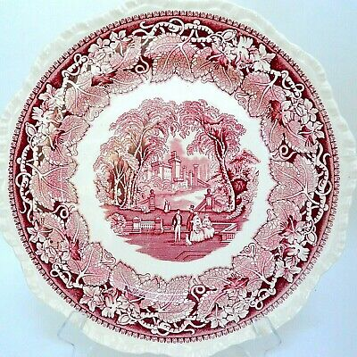 Masons Red Vista Dinner Plate Castle Gadroon Rim Large 10 5/8""