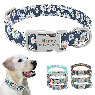Personalised Boho Floral Dog Collars Pet Cat Name ID Tag Engraved 7 Colors S M L