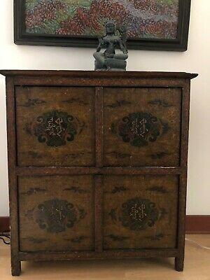 Antique 19Th Century Hand Painted Tibetan Cabinet Hand Carved Wood