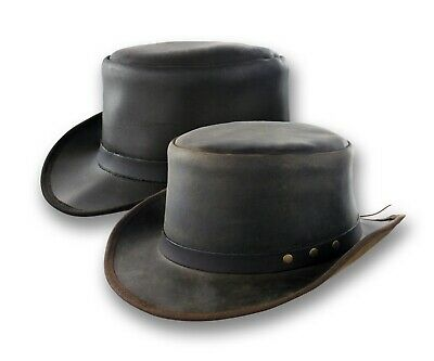 Distressed Leather Coachman Top Hat Steampunk Tophat Topper Tuxedo Victorian