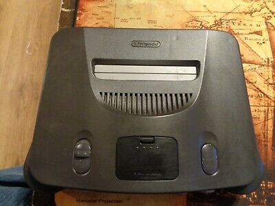 Nintendo 64 Launch Edition Charcoal Grey Console (NTSC) in working condition.