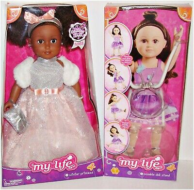 "My Life As Holiday Doll & Stand Winter Princess 18"" African American NEW"