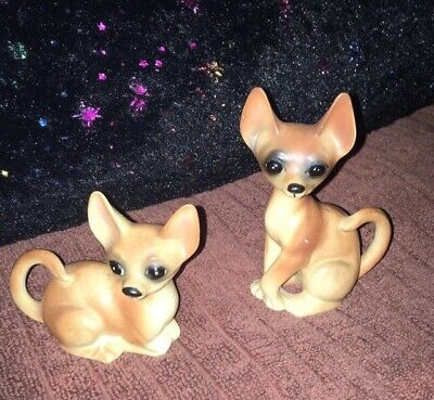 Vintage Pair Of Porcelain Chihuahua Dogs. A-583.
