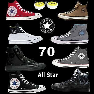 Unisex Converse High Top Chuck Taylor All Star Black White Grey Blue Camo Print